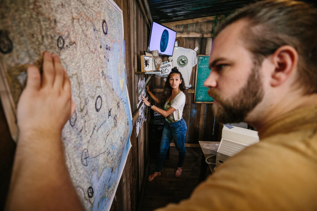 Looking at a map in an escape room