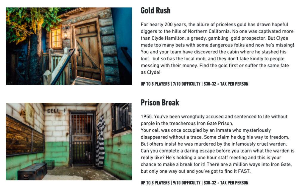 Virtual escape room gold rush and prison break