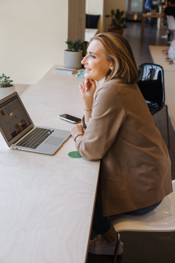 A woman participating in virtual team building